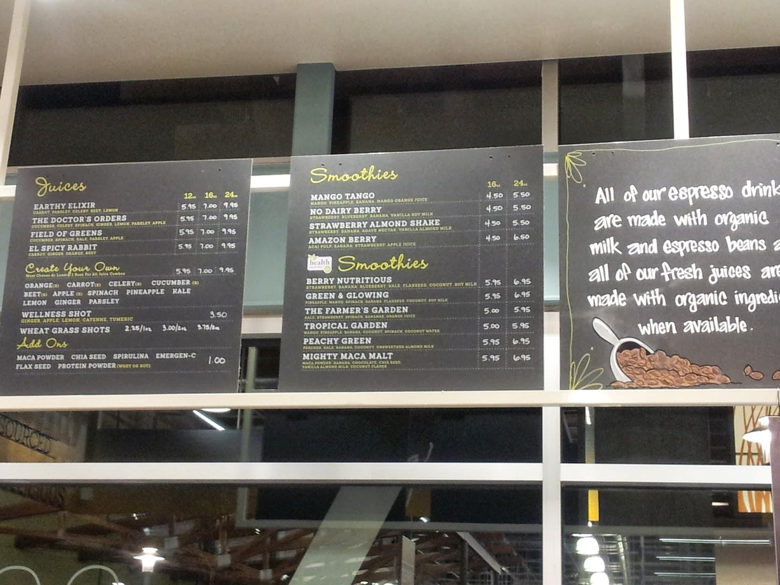 Vc menu whole foods market coffee and juice bar oxnard