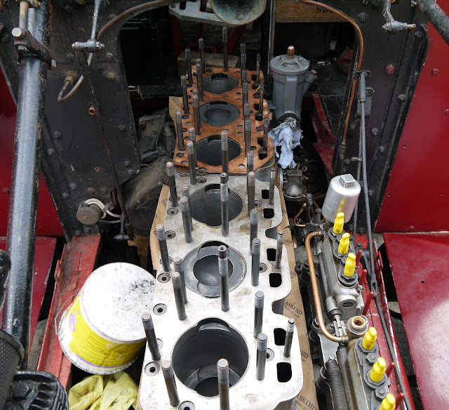 Scammell lorry engine being rebuilt