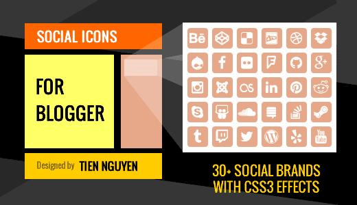 Social Icons for Blogger / Blogspot Website Sidebar Widget