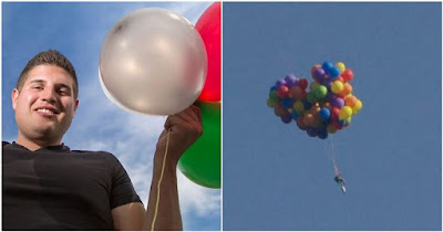 Balloon man Daniel Boria was arrested after his stunt in Canada
