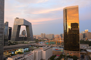China World Office Tower and CCTV building at sunset