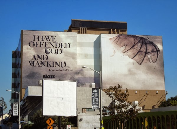 Giant Da Vinci's Demons season 2 offended god and mankind billboard