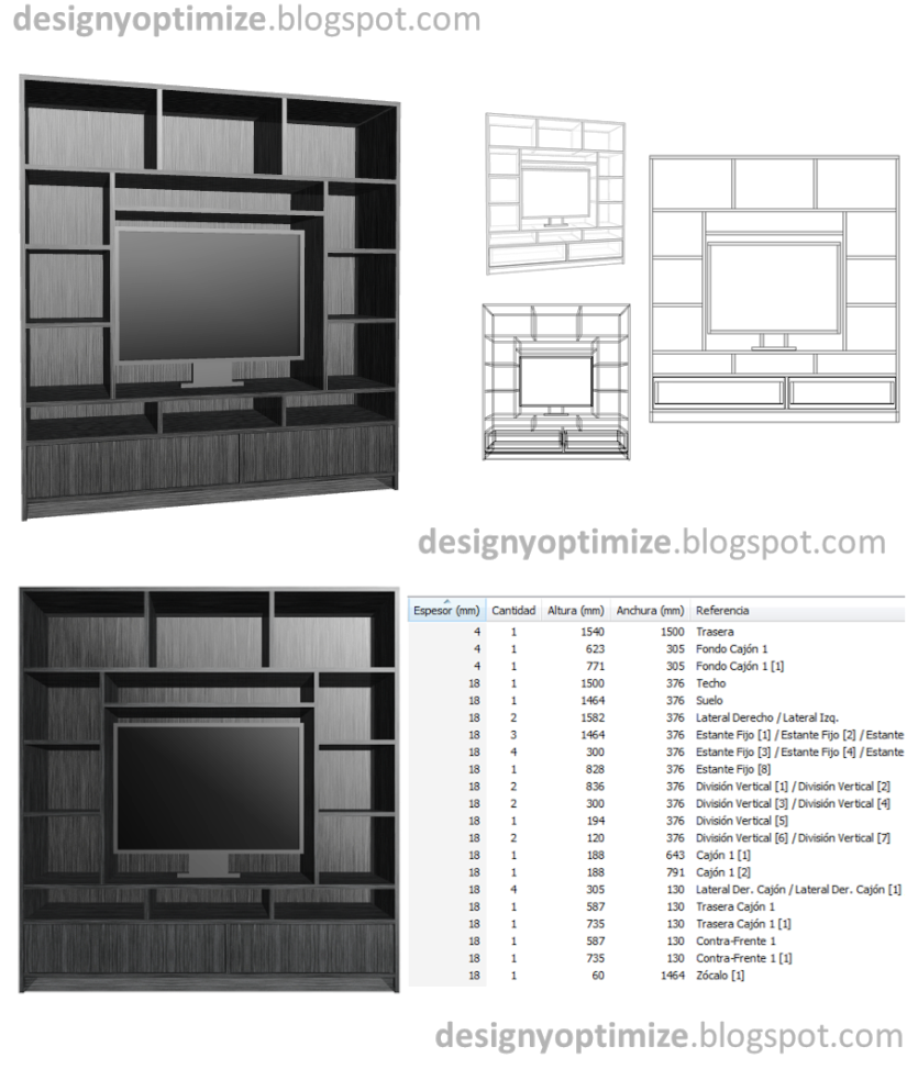 Dise o de muebles madera construcci n de centro de for Como hacer un mueble para tv