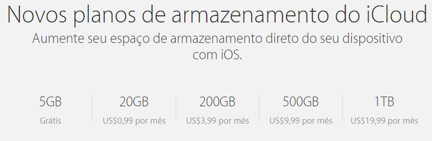 novos planos de armazenamento do iCloud