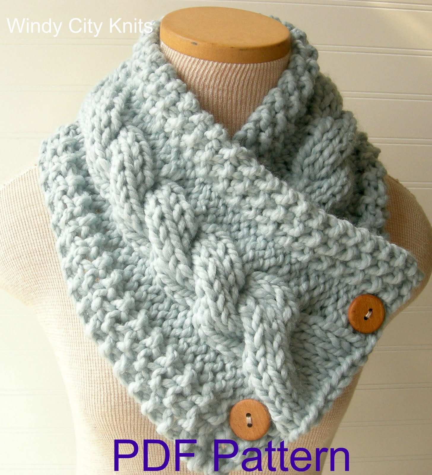 Cable Scarf Knitting Pattern : WindyCityKnits: Knit Cable Cowl Scarf Pattern Pdf