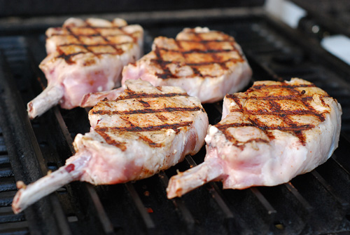 Pork chops on GrillGrates