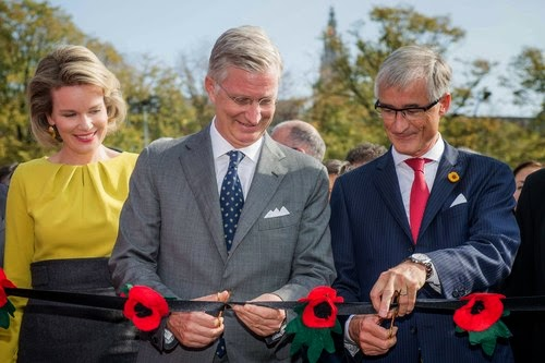 Queen Mathilde, King Philippe and Flemish Minister-President Geert Bourgeois (N-VA) during the inauguration of the replica of the pontoon bridge across the Schelde river, in Antwerp,