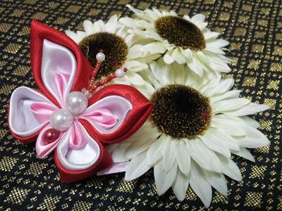 tsumami kanzashi, butterfly, hairclip, handmande, getah rambut