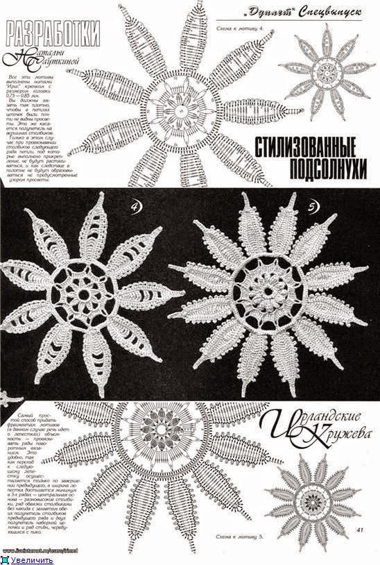Croche Madona-mía puntos y graficos: Flores en Crochet Irlandés ...
