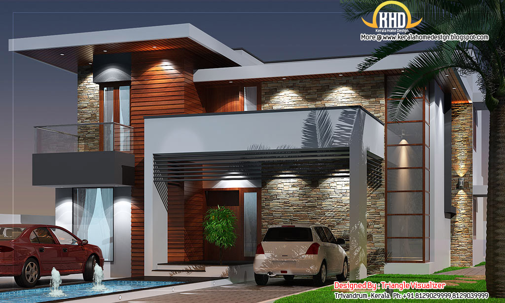 Modern house elevation 2831 sq ft kerala home design for Kerala home designs contemporary
