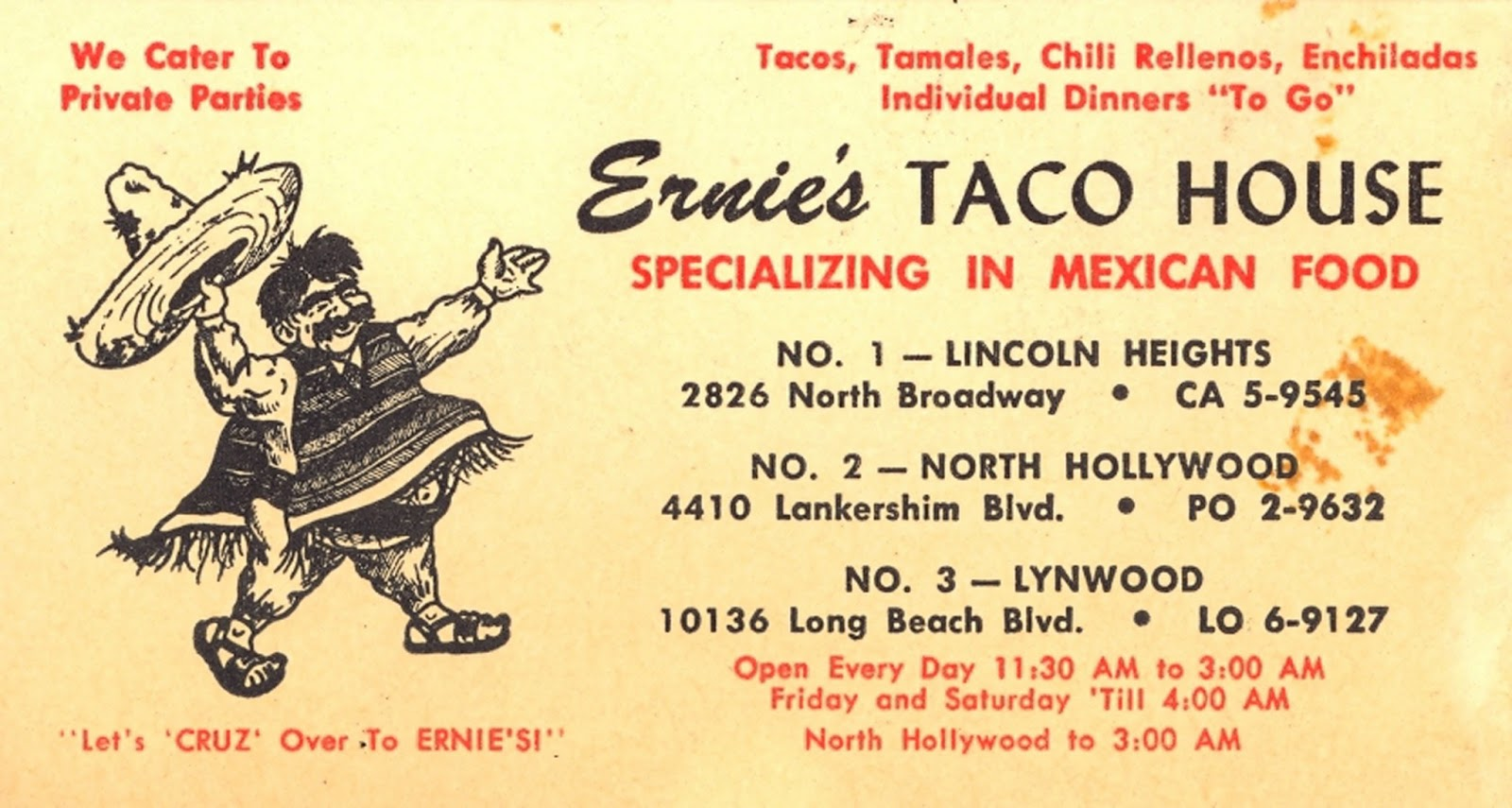 The museum of the san fernando valley earnies tacos in north earnies tacos in north hollywood from 1952 ernies taco house business card colourmoves