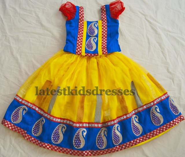 Yellow Blue Kids Lehenga