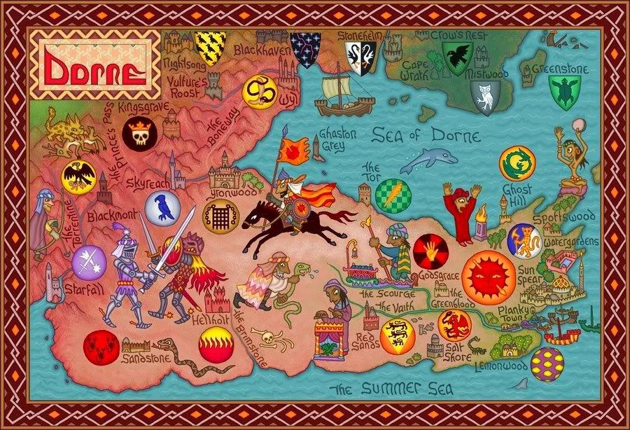 Mapa de Dorne, Canción de Hielo y Fuego