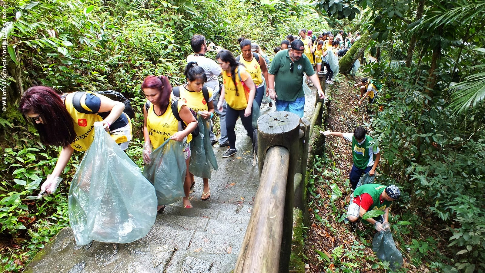 Voluntários retiram o lixo da mata ao redor da trilha. A quantidade surpreendeu a todos. Foto: William R. Schepis/Instituto EcoFaxina