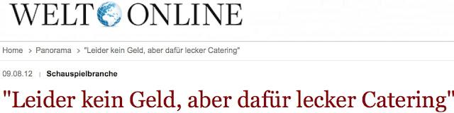 """Link zum Artikel: """"Leider kein Geld, dafür lecker Catering"""""""