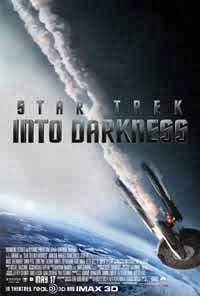 Carátula de Star Trek Into Darkness, que muestra al Enterprise dañado y humeando, cayendo hacia la Tierra