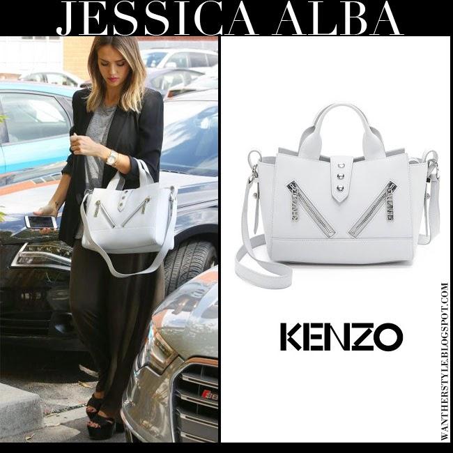 Jessica Alba with white leather zipper Kenzo Kalifornia tote streetstyle february 23