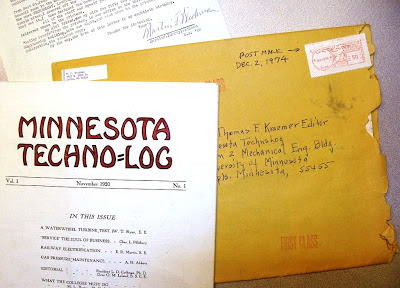 Letter Nov. 28, 1974 from Marty Wichman U of Minn EE '22 born 1894 with first 1920 issue of U of Minnesota Technolog Magazine