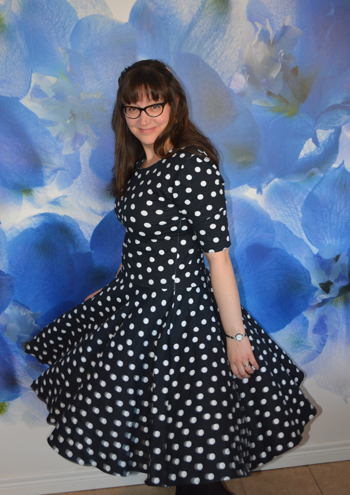 Polka Dot Knit Penelope Circle Dress sewn by Cicely Ingleside
