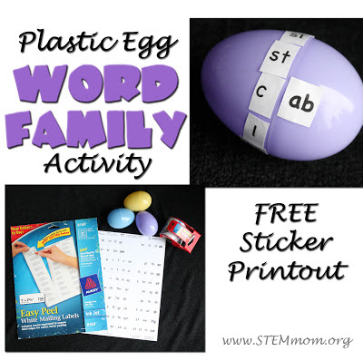 Plastic Egg Word Family Activity Tutorial: Free Sticker Printout from STEM Mom.org