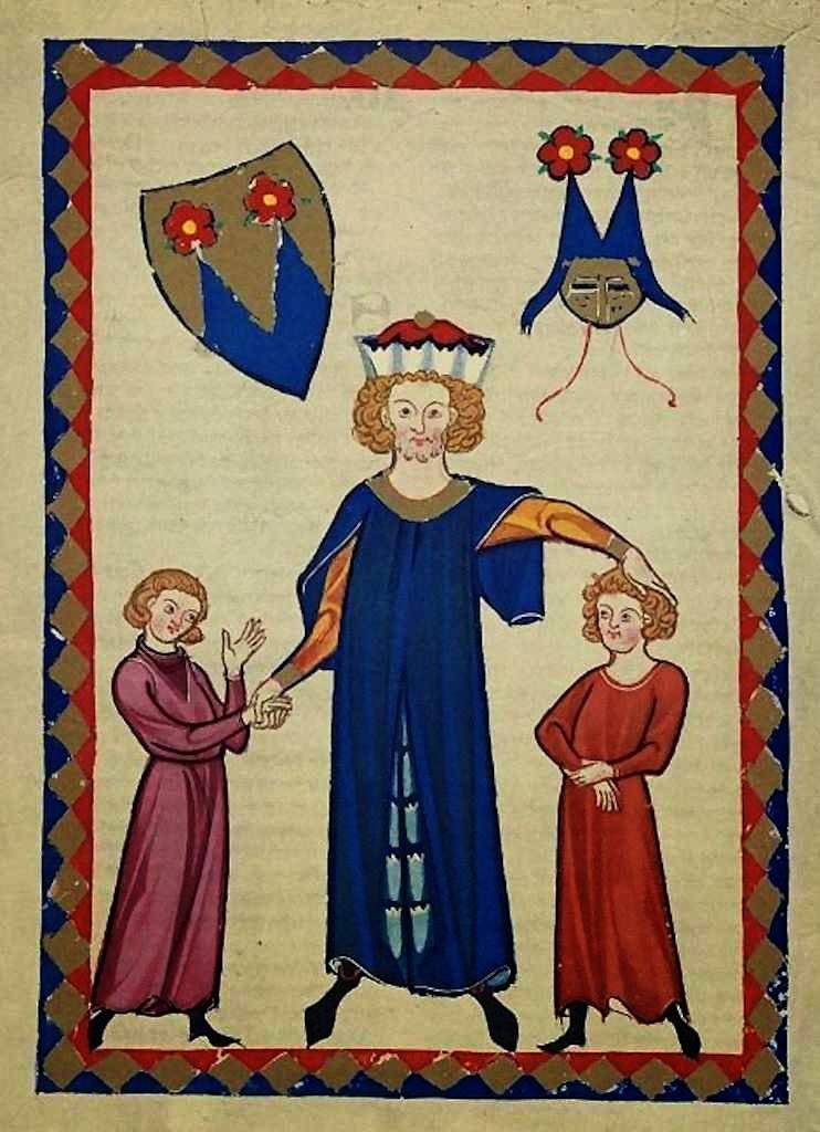 Frederico de Sonneburg com seus filhos. Codex Manesse, fol 407r