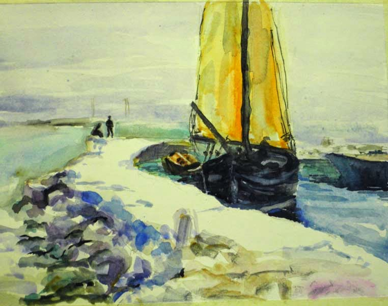 velero en el muelle watercolor