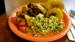 Chinese: Fried rice, sweet and sour chicken, sweet and sour pork,fried shrimp and fried spring roll.