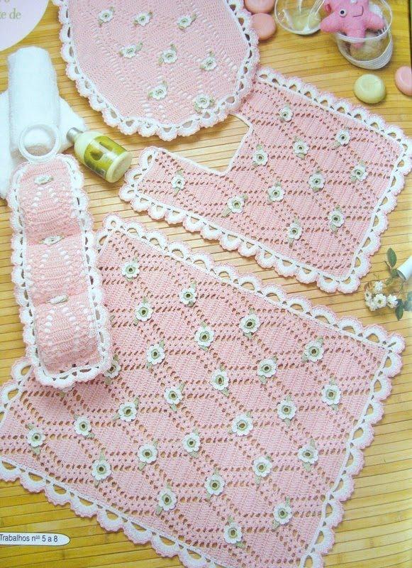 Juegos De Baño A Bebes:Juego De Bano Tejido a Crochet
