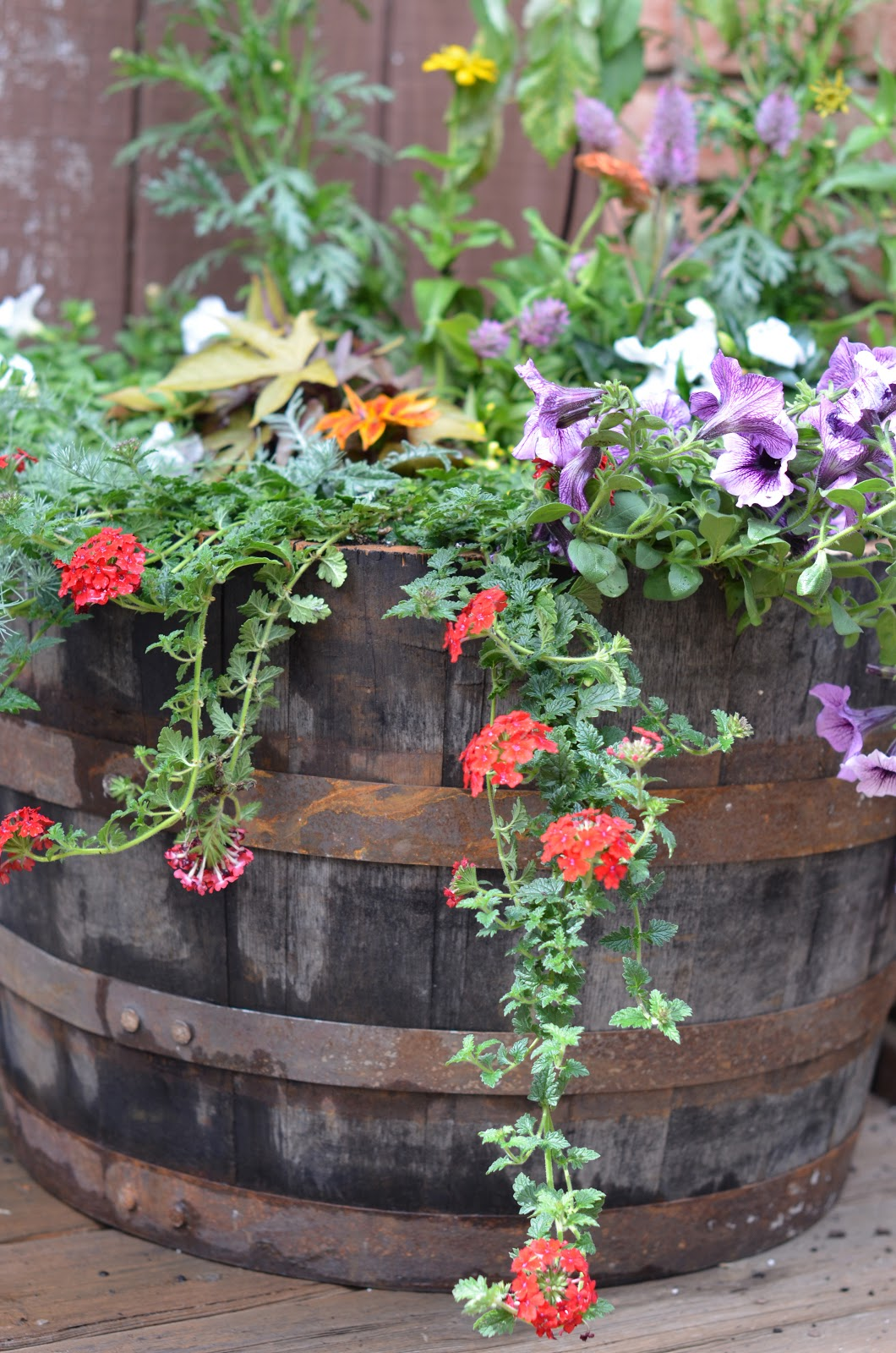 how to build a whiskey barrel planter