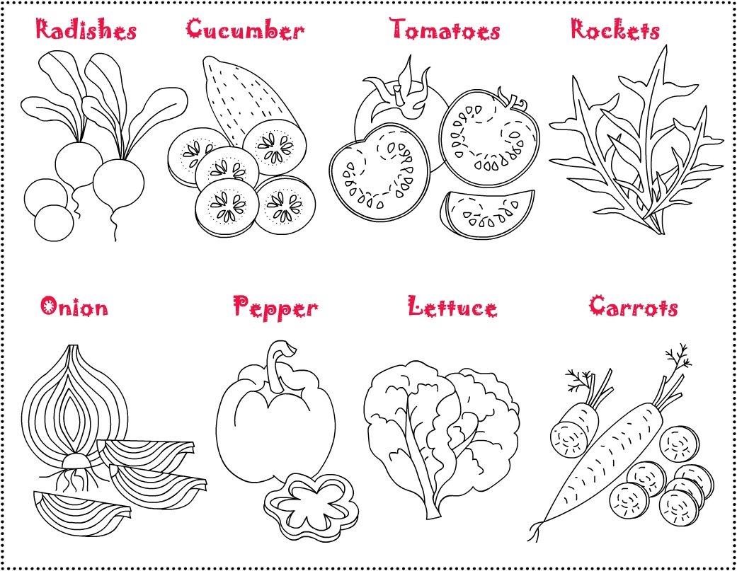 Desenhos De Vegetais Para Colorir on Kindergarten Worksheet Vegetable Salad