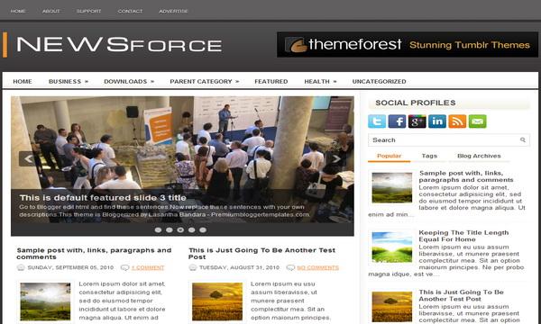 NewsForce 2 Column Blogger Template