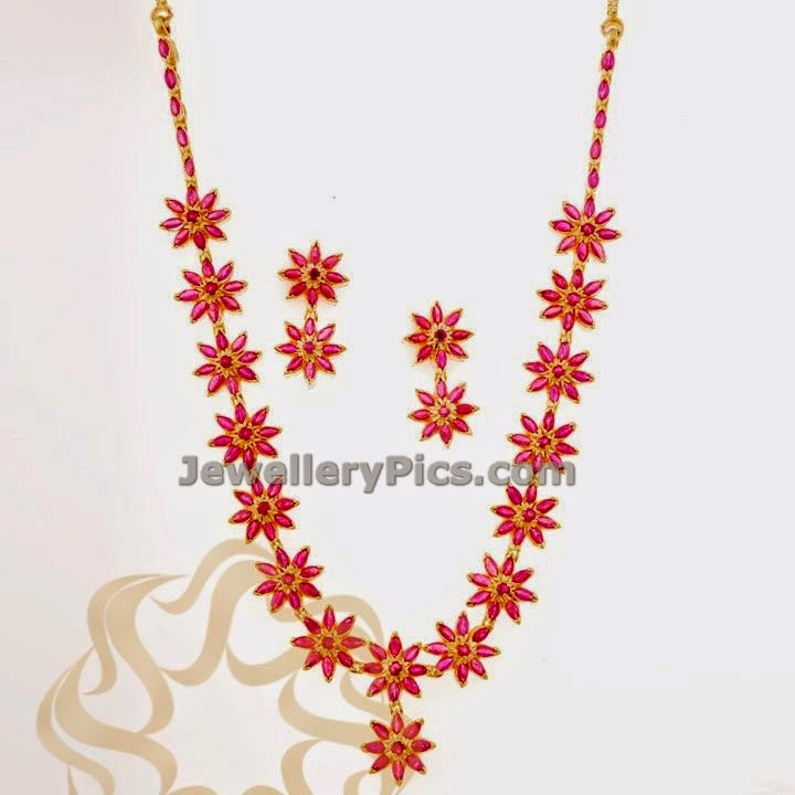 ruby jewellery set indian design