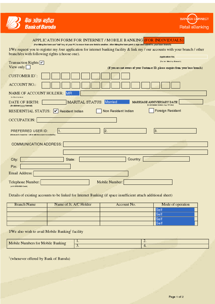 APPLICATION FORM FOR INTERNET MOBILE BANKING Bank of Baroda Net – Bank Application