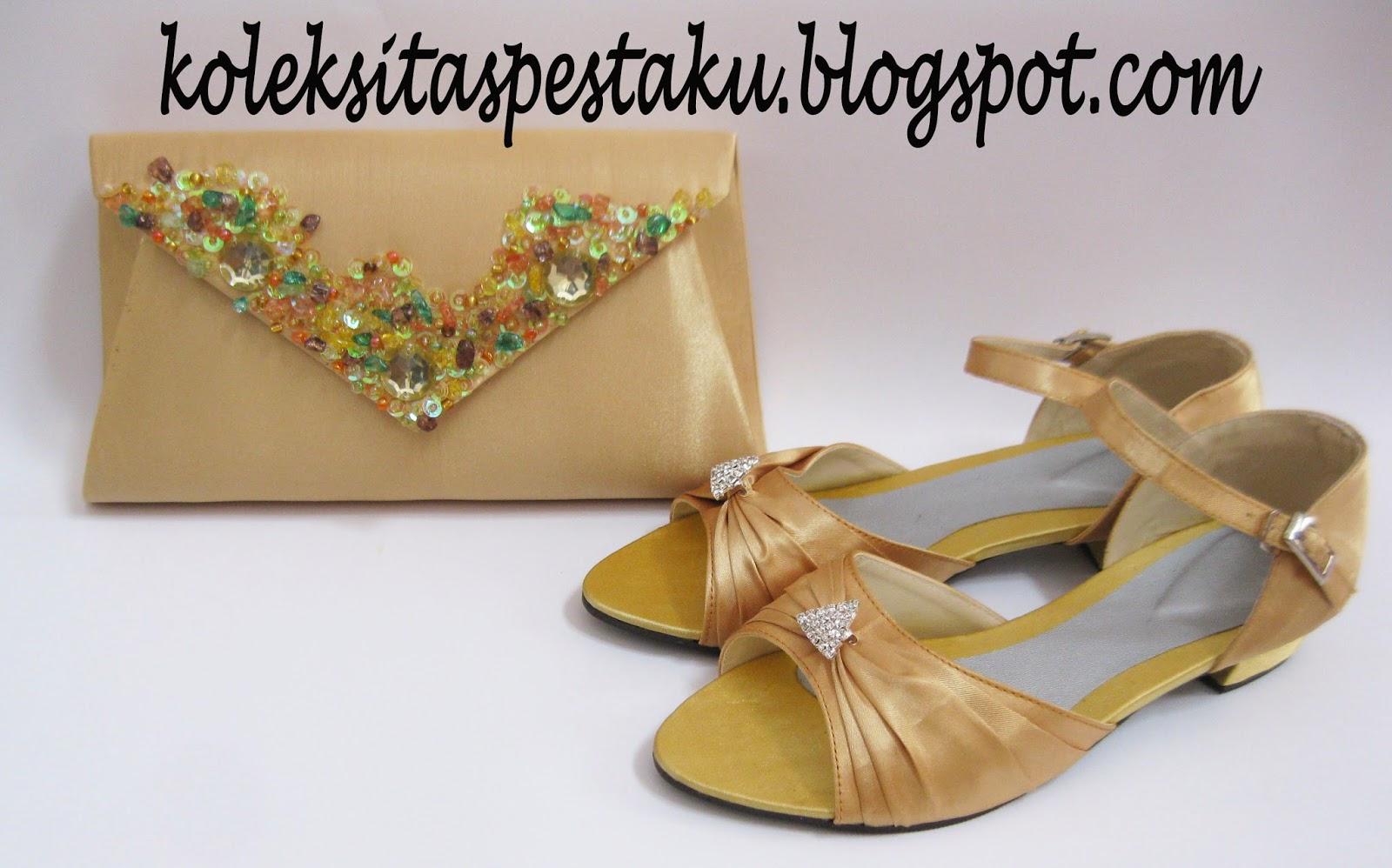 Dompet dan Sepatu Pesta Hak Tahu Warna Gold Cantik dari Tas Pesta Ku