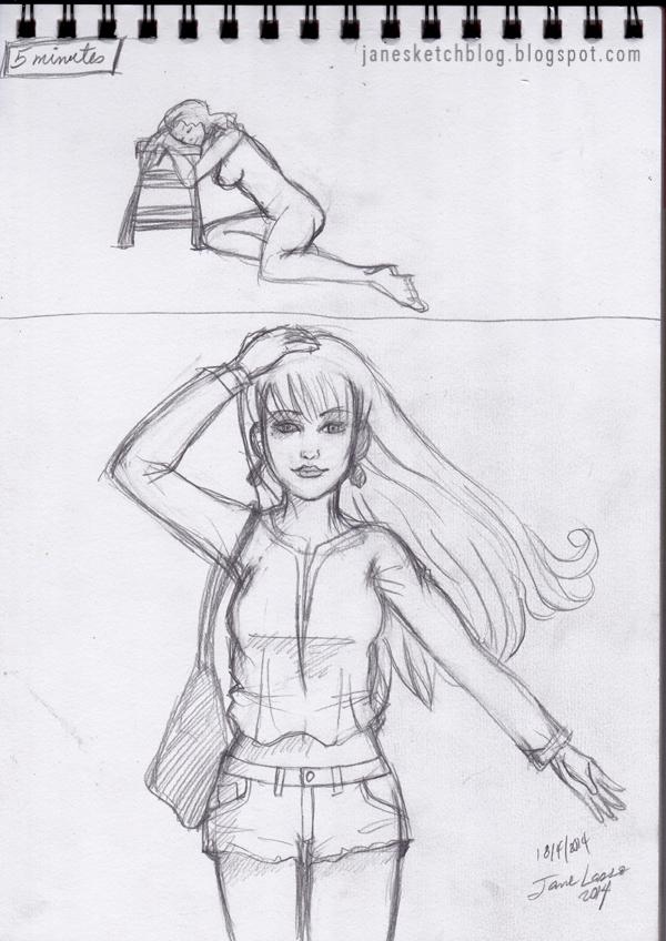 Dibujo gestual de figura humana a lápiz