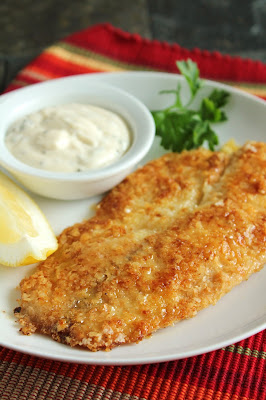 Potato-Crusted Tilapia with No-Pickle Tartar Sauce, parsley, lemon
