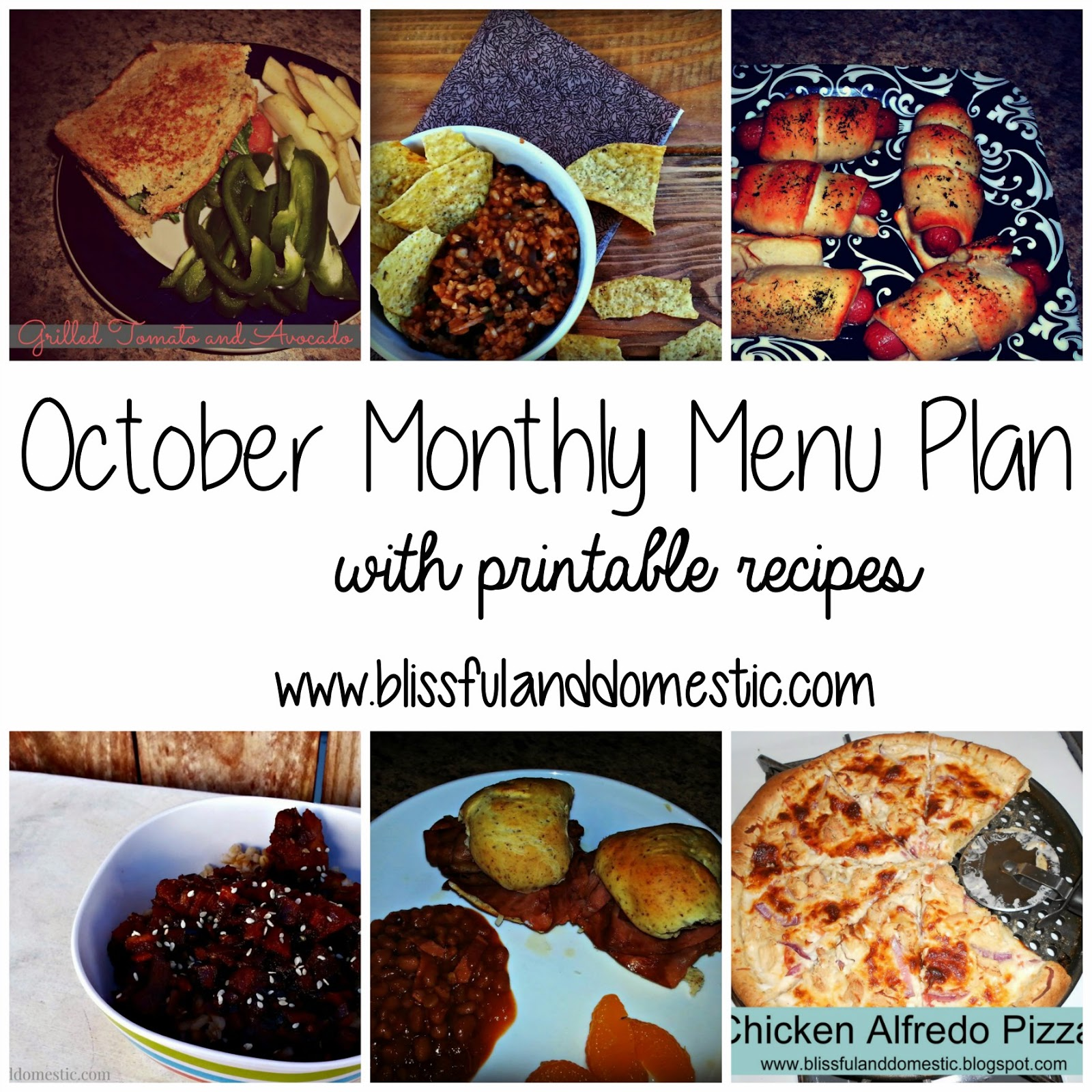 October Menu Plan + Recipes