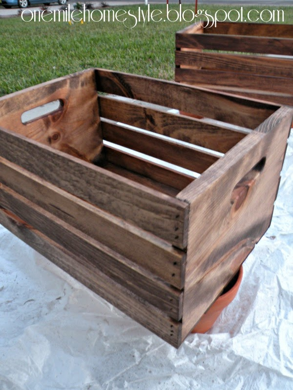 Special Walnut Stained Wooden Crates for Shoe Organization