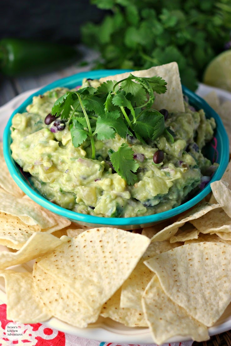 Pineapple and Black Bean Guacamole by Renee's Kitchen Adventures - A healthy snack or appetizer recipe for Cinco de Mayo or any occasion