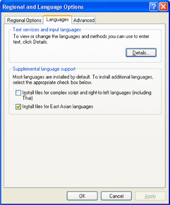 Installing Chinese Language or East Asian Language in Windows XP