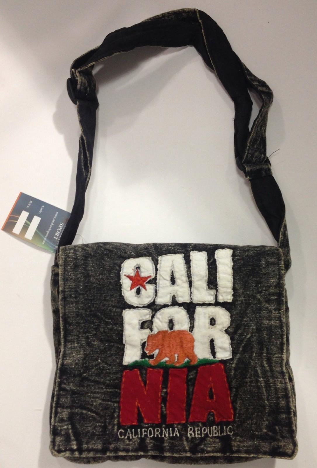 California Republic Bear Flag Denim Purse Bag