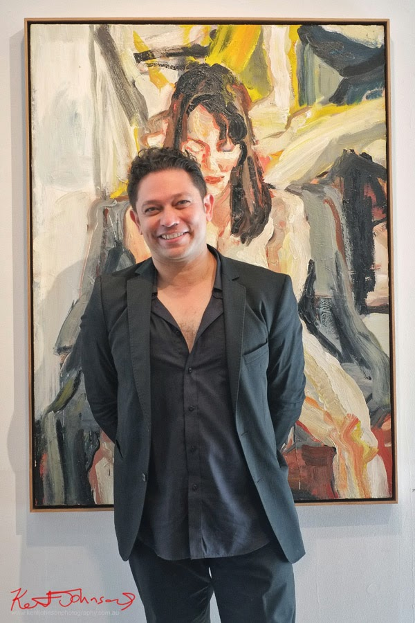 Robert Malherbe artist portrait at 'What's there is there' Olsen Irwin Gallery - Photo by Kent Johnson.