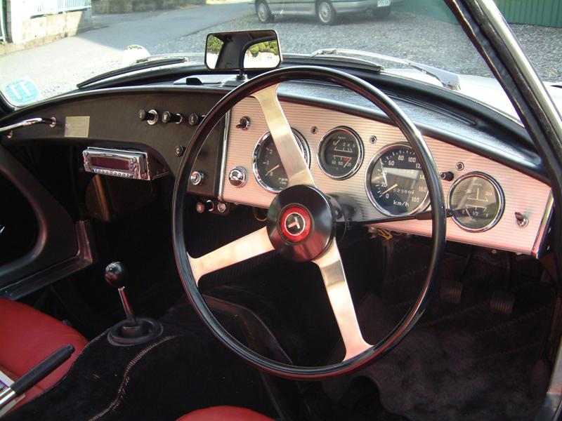 Toyota Sports 800 UP15 stary japoński sportowy samochód klasyk oldschool boxer トヨタ スポーツカー クラシックカー, wnętrze interior