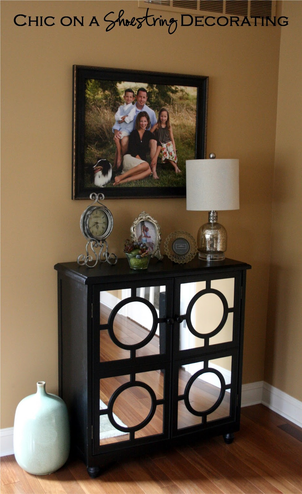 Decorating with a piano - Mirrored Table Console Cabinet Chic On A Shoestring Decorating