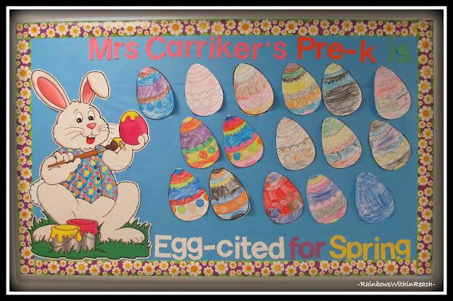 photo of: Easter Egg Bulletin Board in Preschool via RainbowsWithinReach