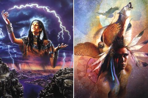 Retratos de las chicas nativas americanas que muestran