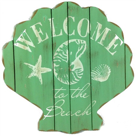 Welcome to the Beach Shell Sign