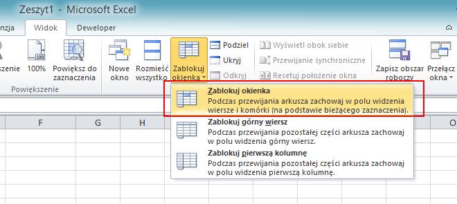 Zablokuj okienka - screen Excel 2010