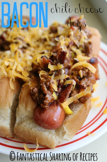 Bacon Chili Cheese Dogs | www.fantasticalsharing.com | #bacon #chilidogs