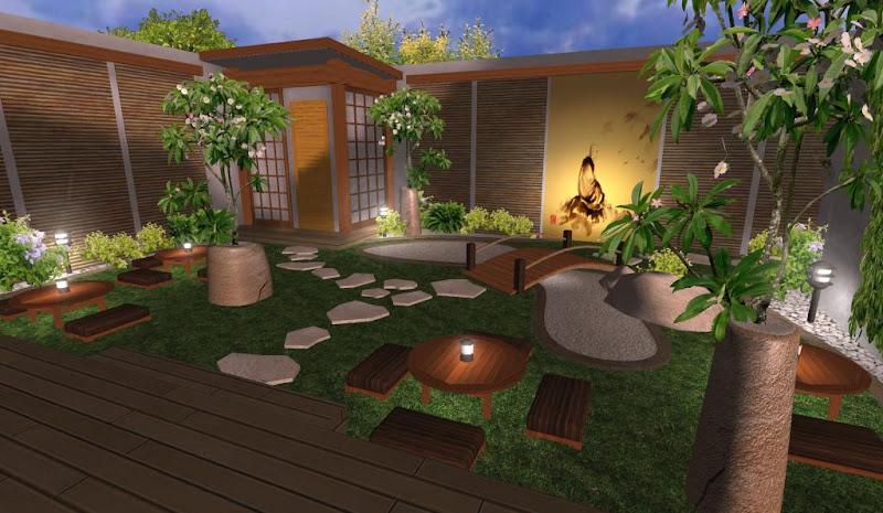 jardin de estilo zen japones para casa del te con piedras laguna y puente de madera